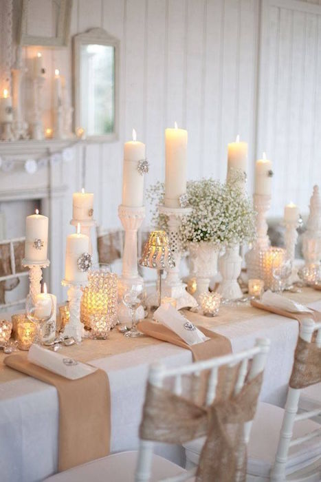 bare wooden tables are a great canvas for an elaborate tablescape