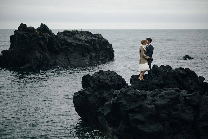 Iceland wedding portrait by the ocean
