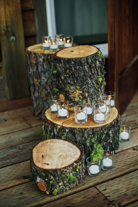 tree stumps with candles