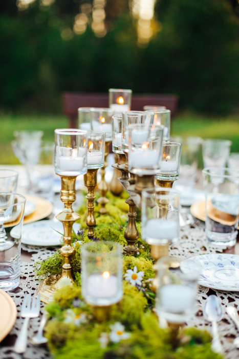 moss and candle centerpiece