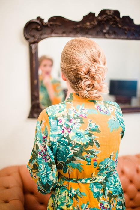bride in floral robe
