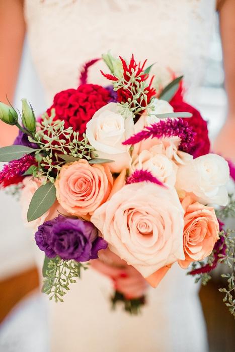 peach, purple, and pink wedding bouquet