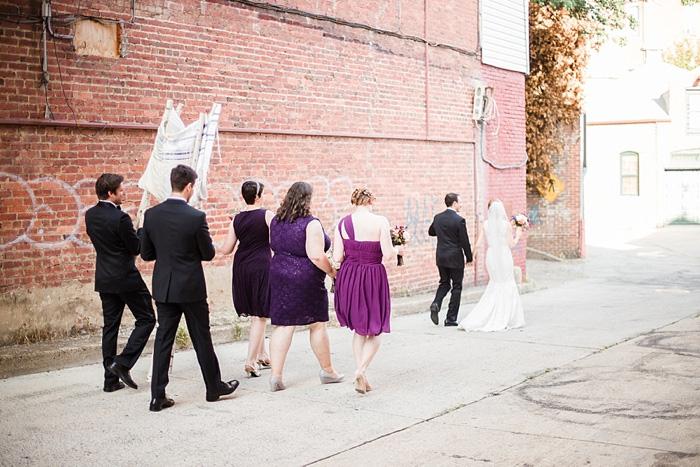 wedding procession down the street
