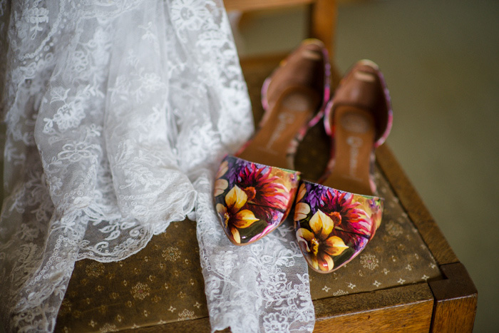 bride's floral wedding shoes