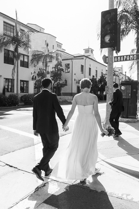 bride and groom walking to restaurant