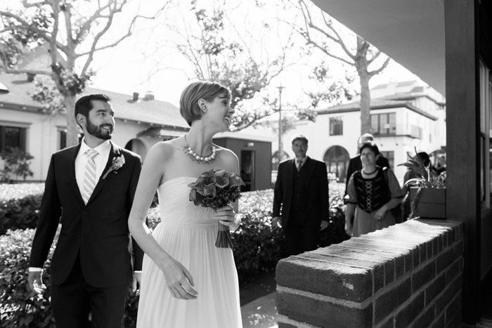 bride walking into restaurant