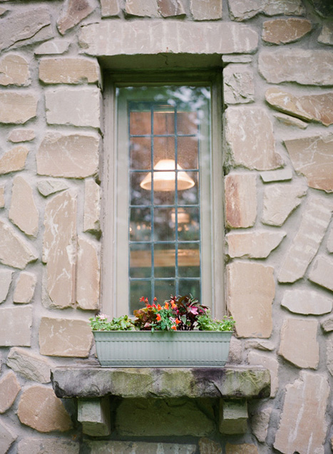 window box on stone cottage