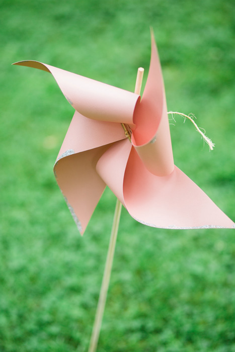 pink pinwheel on  stick