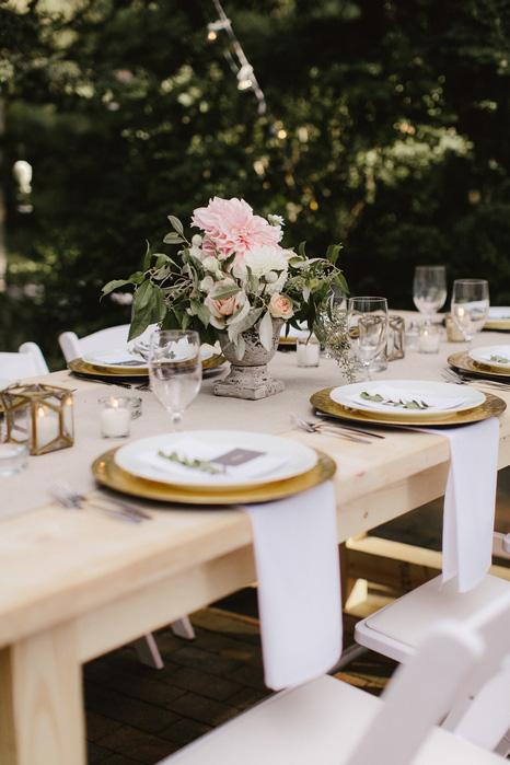 backyard wedding reception set-up