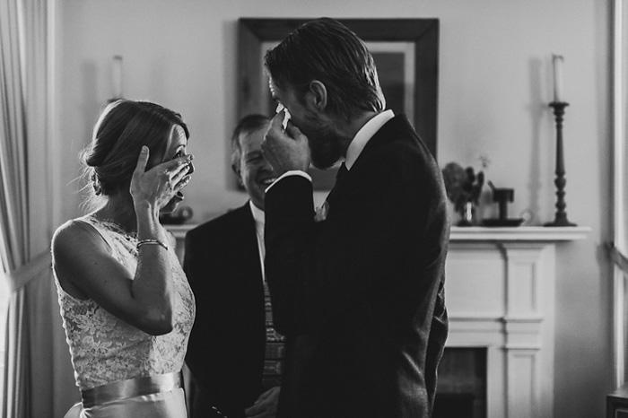 tearful bride and groom