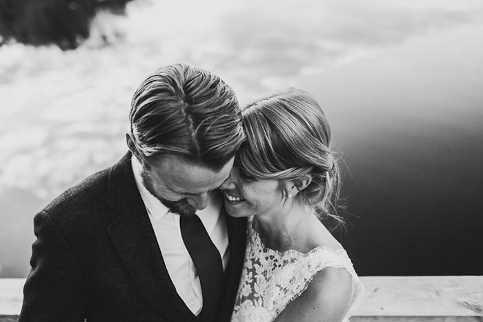 intimate black and white wedding portrait
