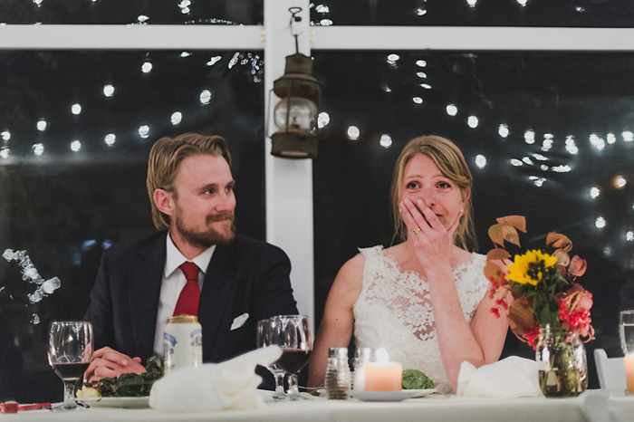 bride crying at reception