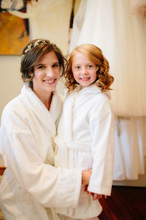 bride and flower girl in robes