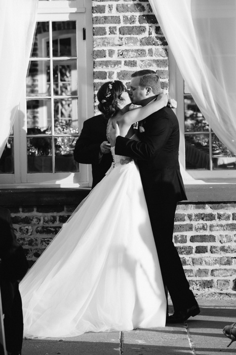 brie and groom first kiss