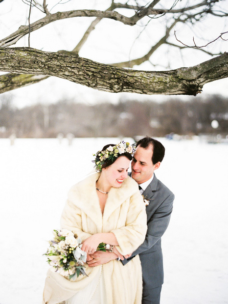 wedding portrait in the snow