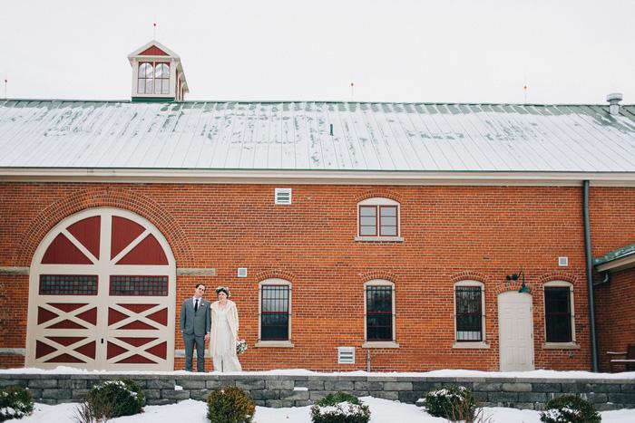 wedding portrait outside barn