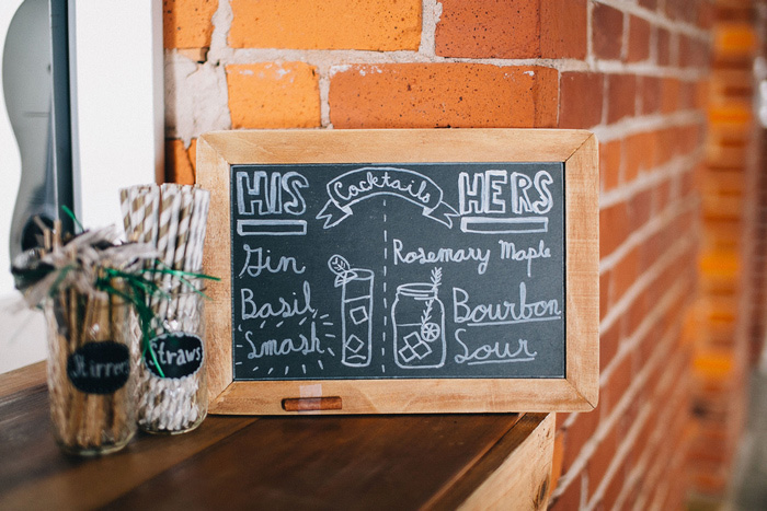 his and her cocktail chalkboard sign