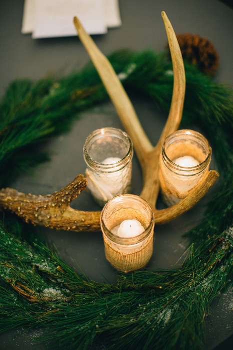 antler and mason jar candles