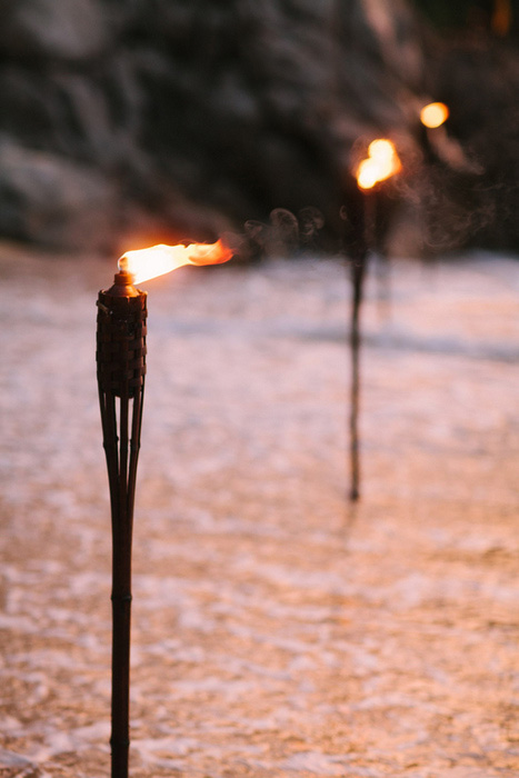 tiki torches on beach