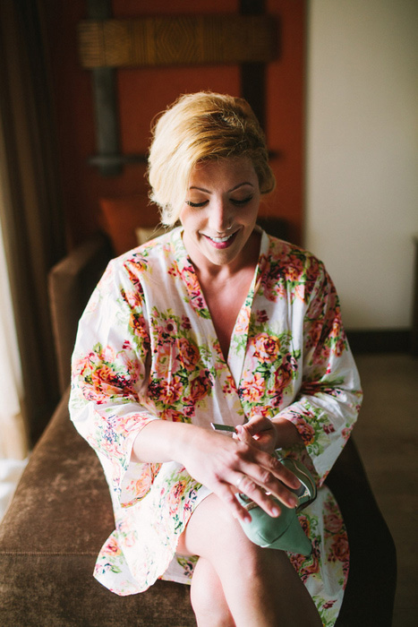 bride in floral robe