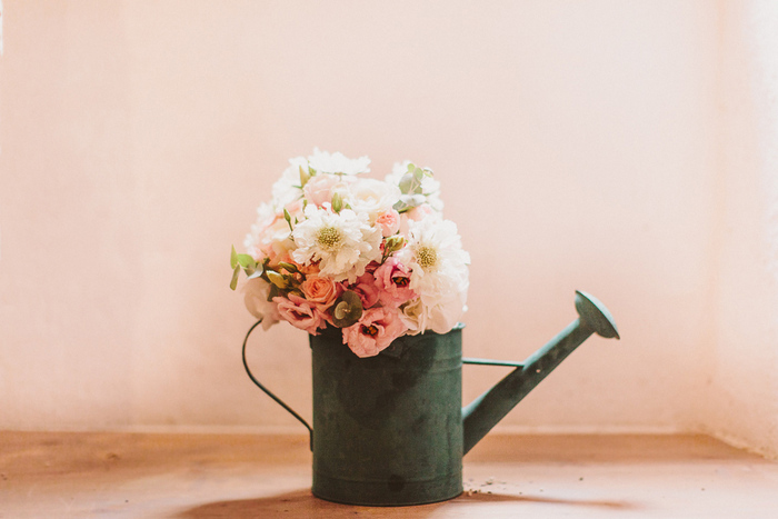 wedding flowers in watering can