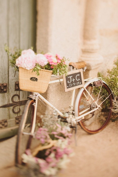 wedding flowers in bike basket