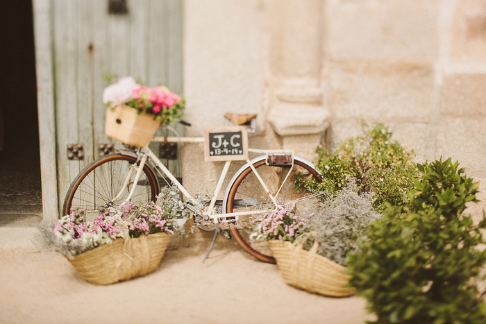 bike with wedding sign and flowers