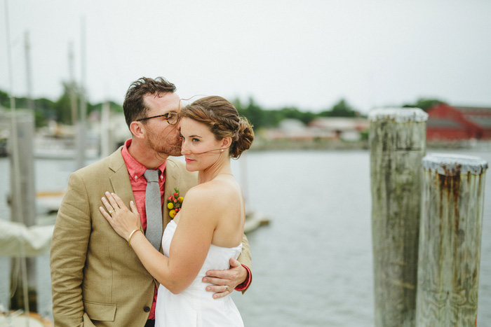 bride and groom portrait on the dock
