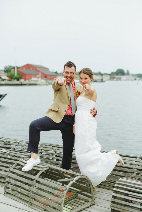 bride and groom portrait with lobster traps