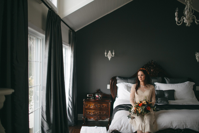 bride sitting on the bed