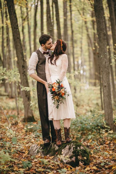 wedding portrait in the woods