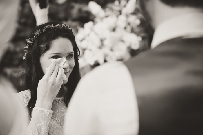 bride crying during ceremony