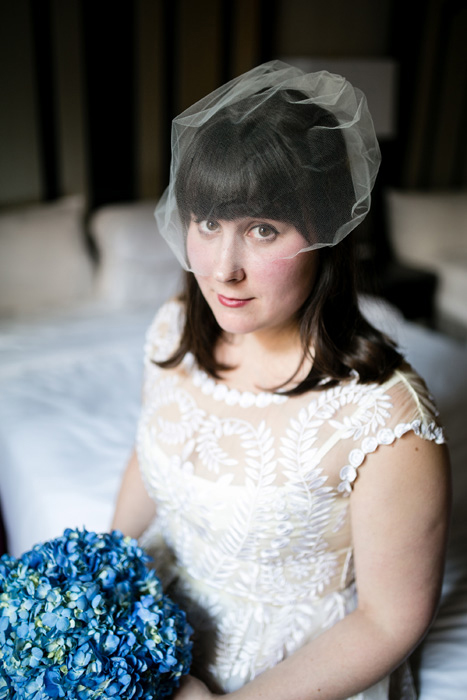 bride in blusher veil