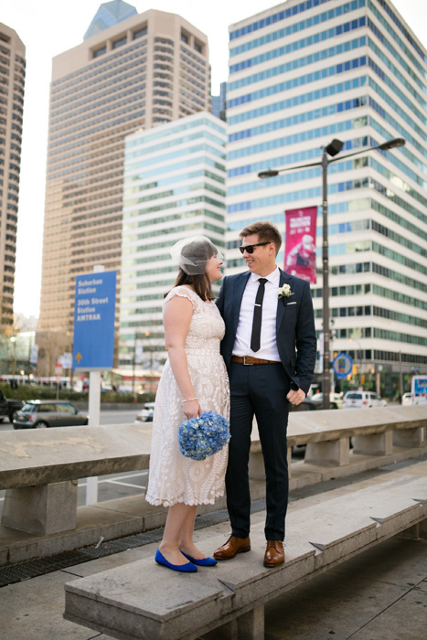bride and groom portrait in Philadelphia