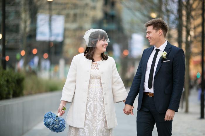bride and groom walking in Philadelphia