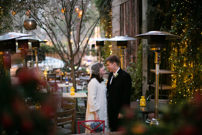 bride and groom at restaurant