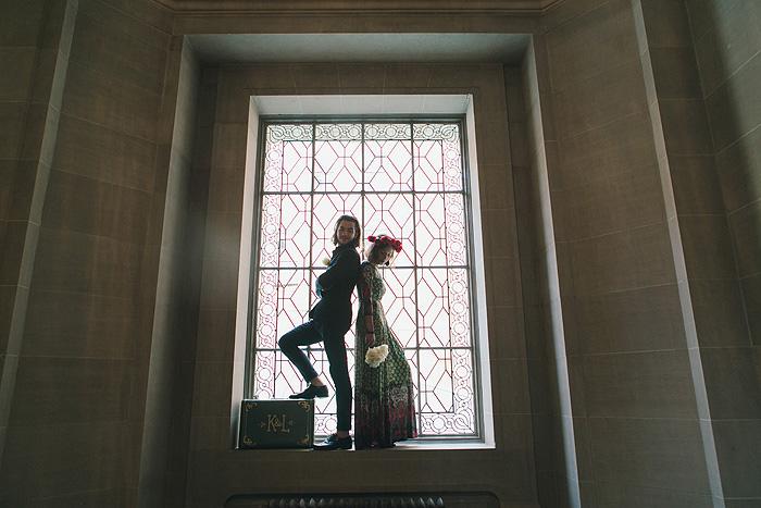 Portrait inside City Hall window