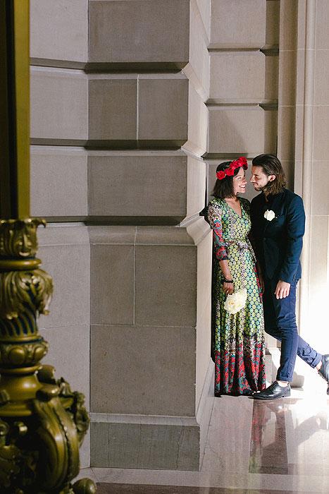 elopement portrait inside San Francisco City Hall