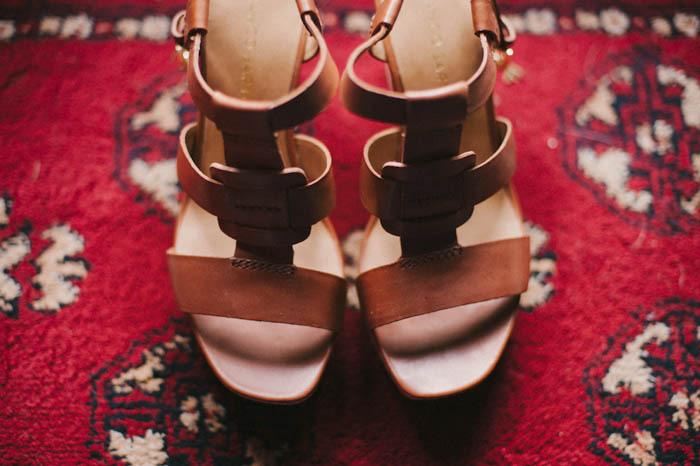 bride's leather wedding sandals