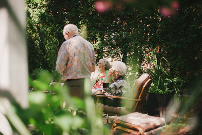 elderly guests at backyard wedding