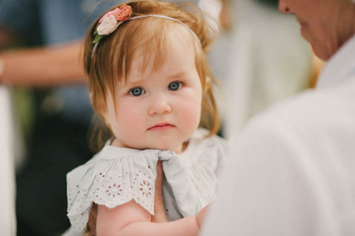 cute baby at wedding reception