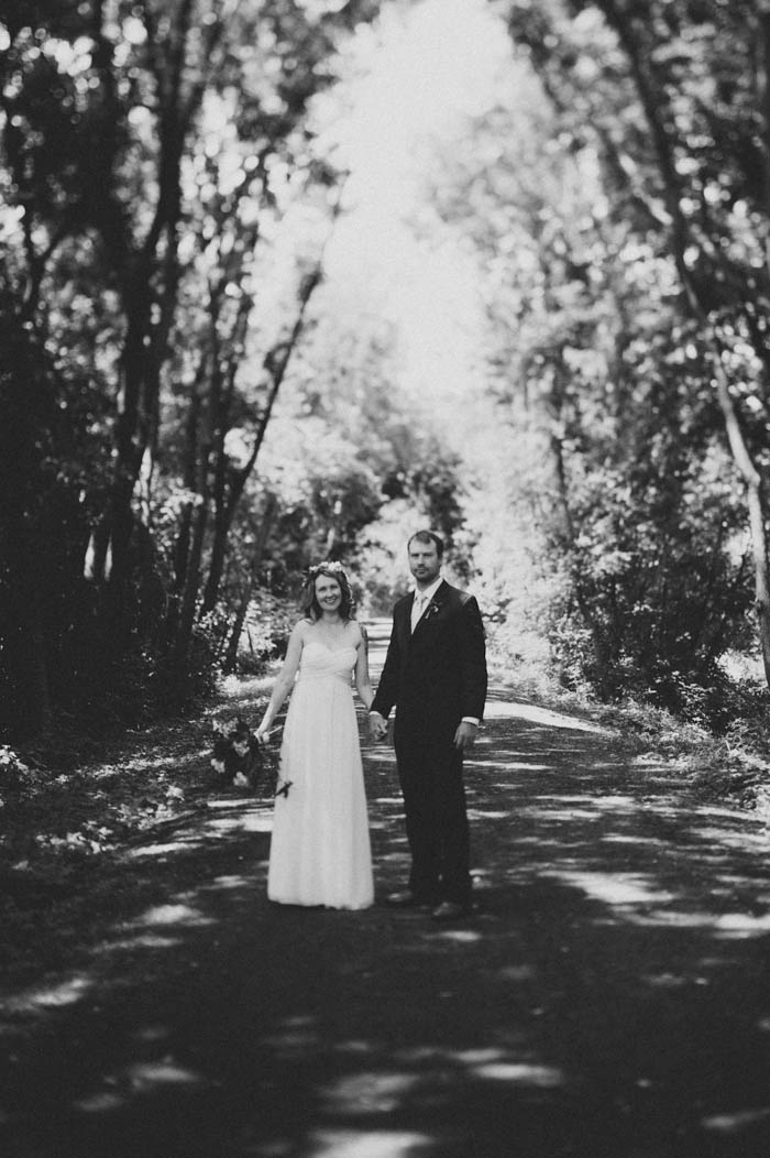 blackand white outdoor wedding portrait