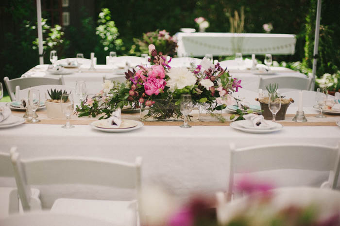 rustic backyard wedding reception table