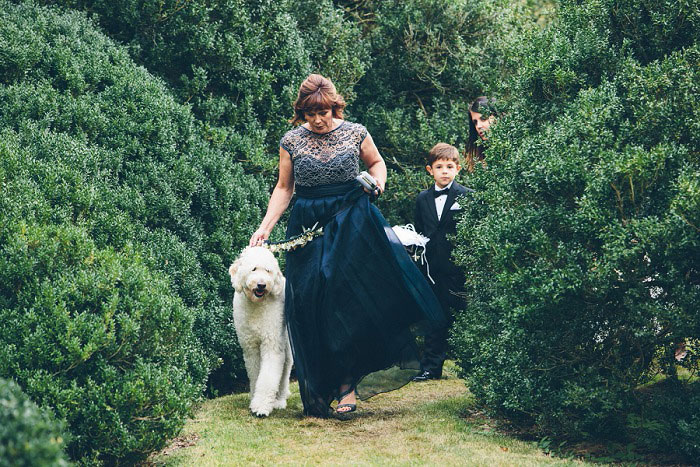 mother of the bride walking down the aisle with dog