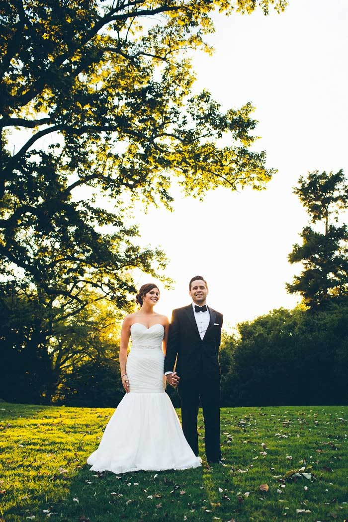 bride and groom portrait at golden hour