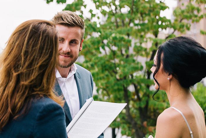 groom during elopement ceremony