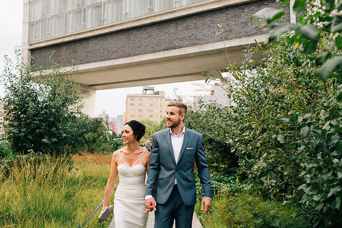 bride and groom walking the highline