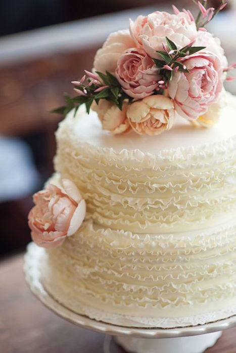 white cake with ruffles