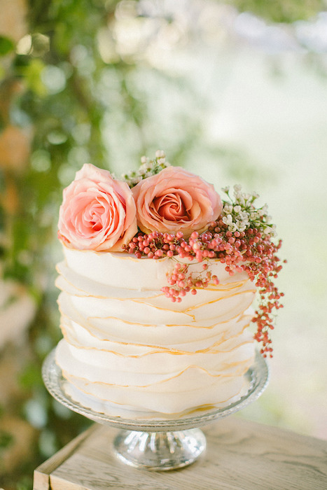 small ruffled wedding cake
