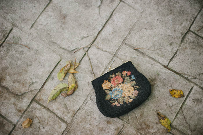 beaded purse on the pavement